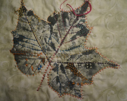 Stitching on a leaf 1