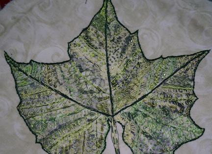 WS Green leaf beaded