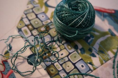 Embroidery thread turq heart