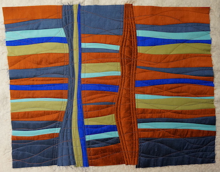 Silk strips basted