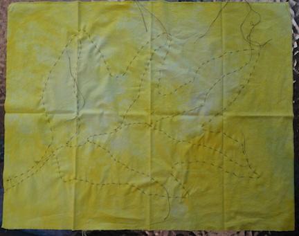 Shibori yellow stitch 2